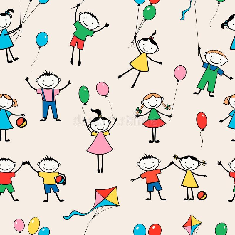Pattern of merry kids stock illustration