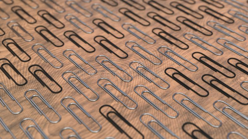 Pattern from paper clips. Pattern from metal and black paper clips on wooden background. Abstract stationary background. 3D rendering illustration royalty free illustration