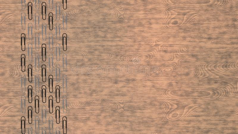 Pattern from paper clips. Pattern from metal and black paper clips on wooden background. Abstract stationary background. 3D rendering illustration vector illustration