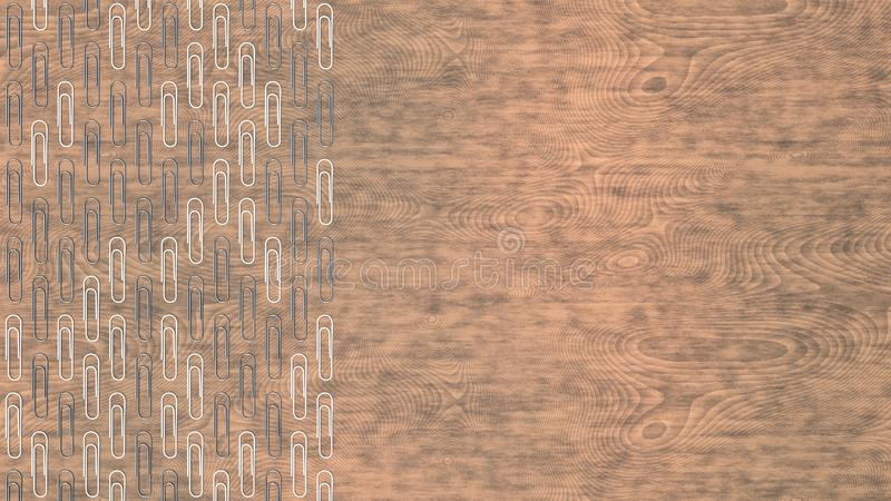 Pattern from paper clips. Pattern from metal and white paper clips on wooden background. Abstract stationary background. 3D rendering illustration royalty free illustration