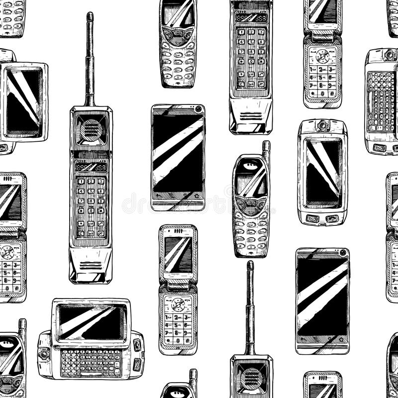 Pattern with mobile phone. royalty free illustration