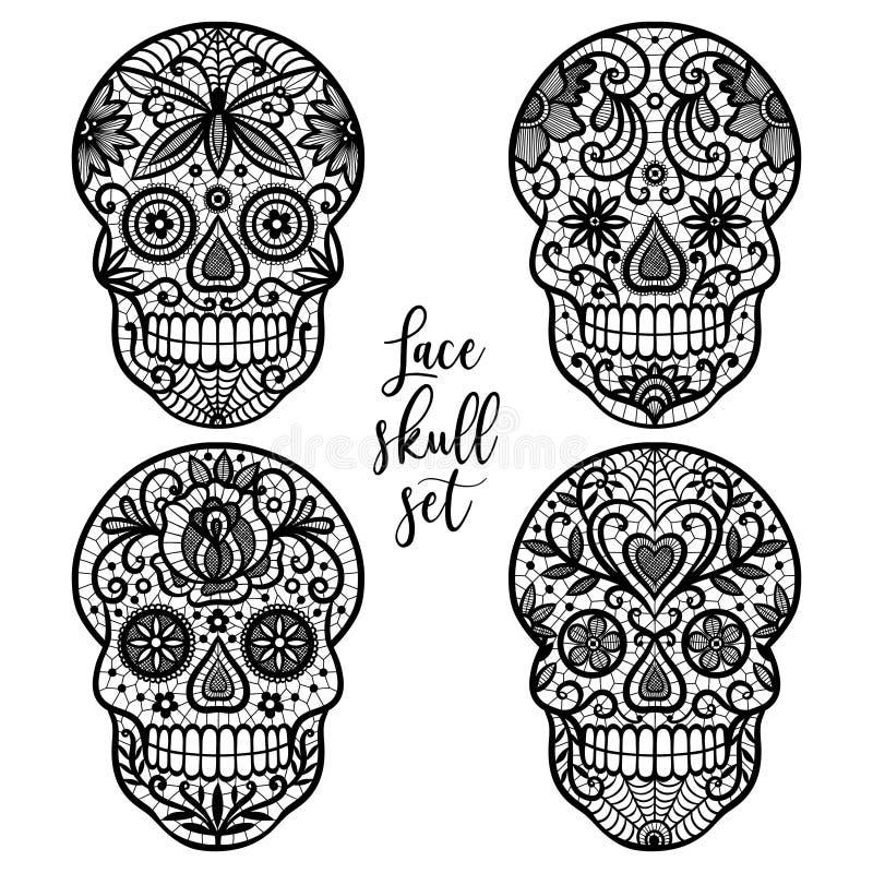 Lace sugar skulls. royalty free illustration