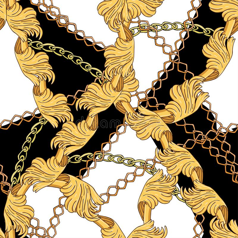 Pattern of modern elements and chains royalty free illustration