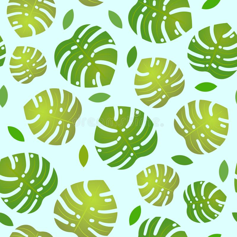 Pattern with monstera leafs on blue background vector illustration