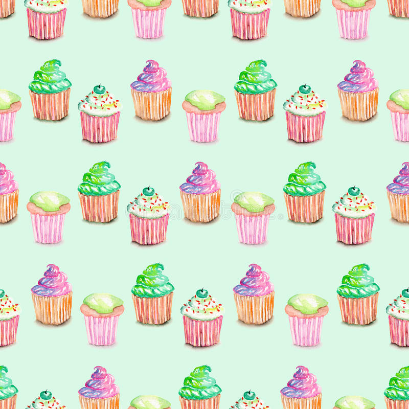 Pattern with muffins. Seamless pattern with muffins painted in watercolor, on a mint background royalty free illustration