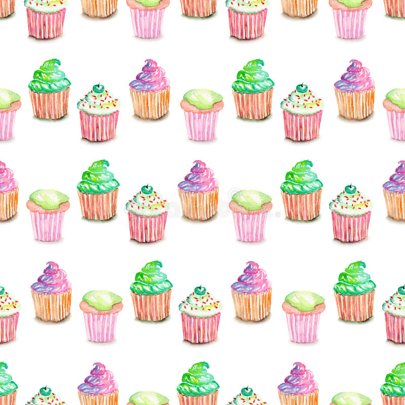 Pattern with muffins. Seamless pattern with muffins painted in watercolor, on a white background royalty free illustration