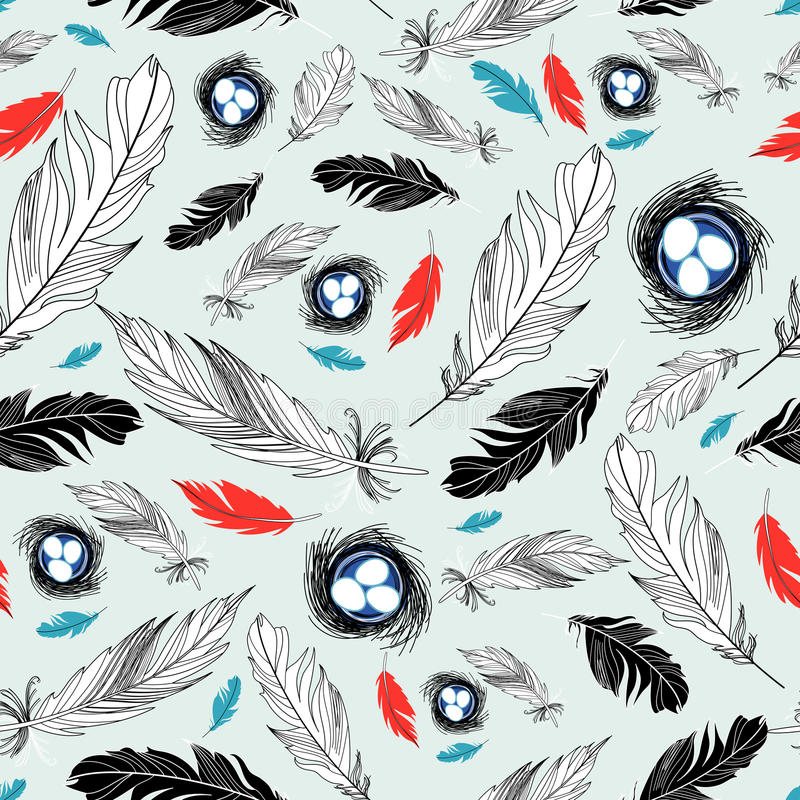 Download Pattern Of Nests And Feathers Stock Vector - Illustration: 23613912