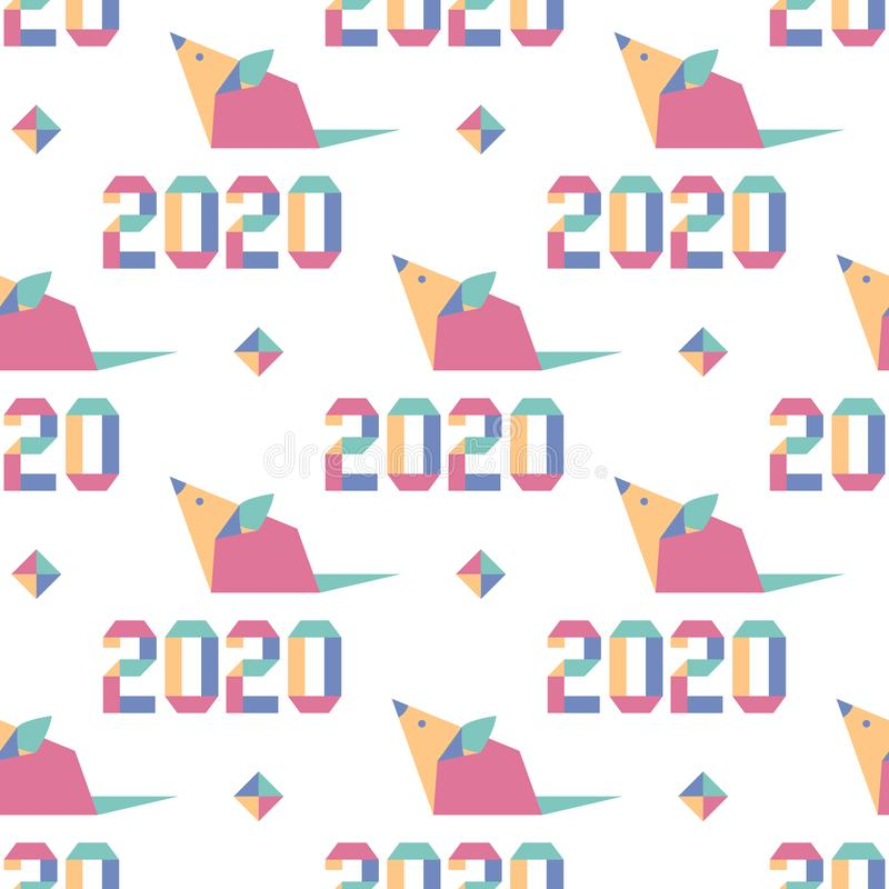 Pattern New year Rat symbol 2020 Chinese origami. Happy new year. Vector seamless pattern with origami 2020 year numbers and rat. Rat zodiac sign, symbol of 2020 stock illustration