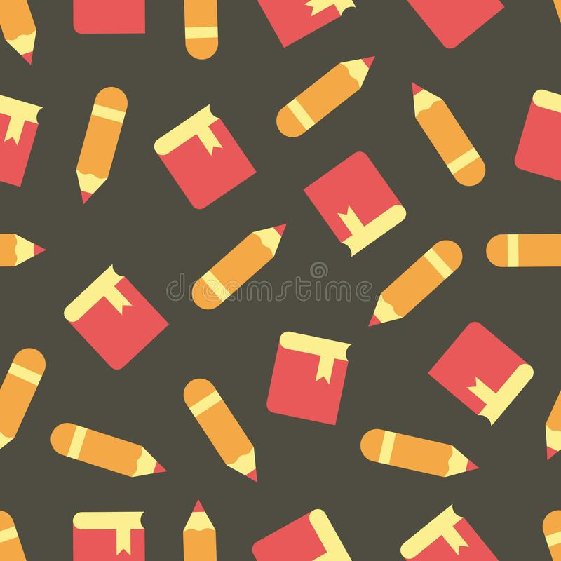 Pattern with notebooks and pencils. Simple vector illustration with ability to change stock illustration
