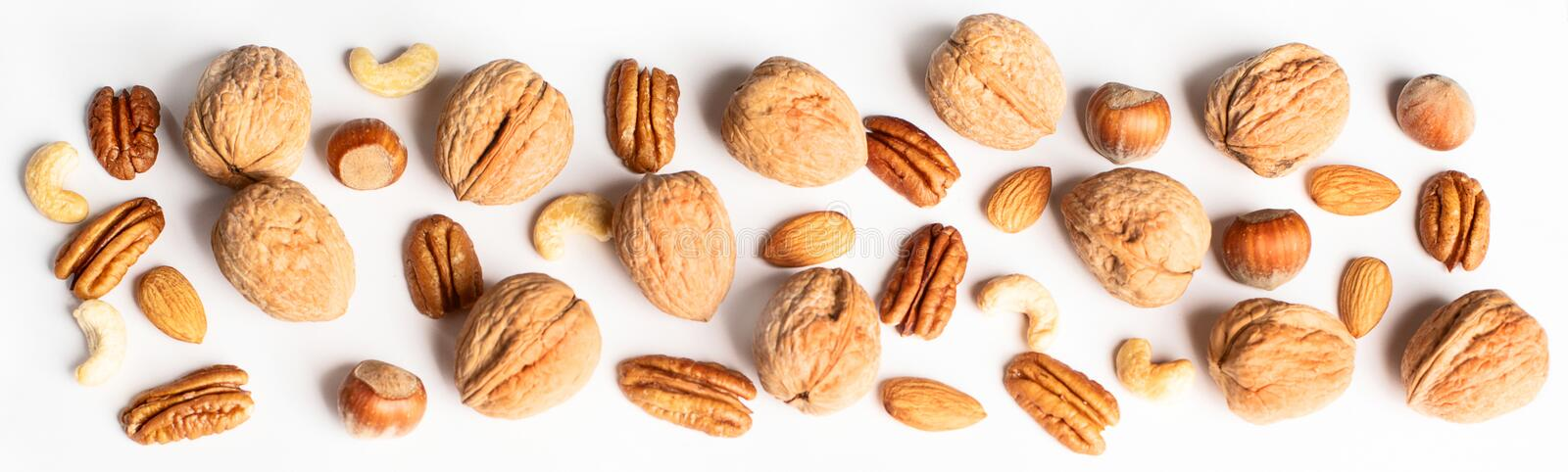 Pattern of nuts mix. Top view royalty free stock image
