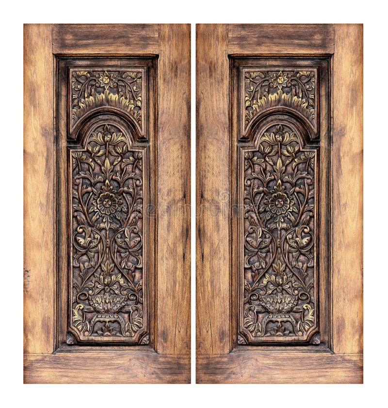Free Pattern Of Flower Carved On Wooden Window Royalty Free Stock Photo - 97773725