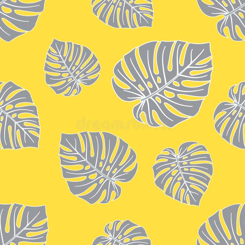Free Pattern Of Gray Monstera Leaves On A Yellow Background 2 Royalty Free Stock Photo - 207528775