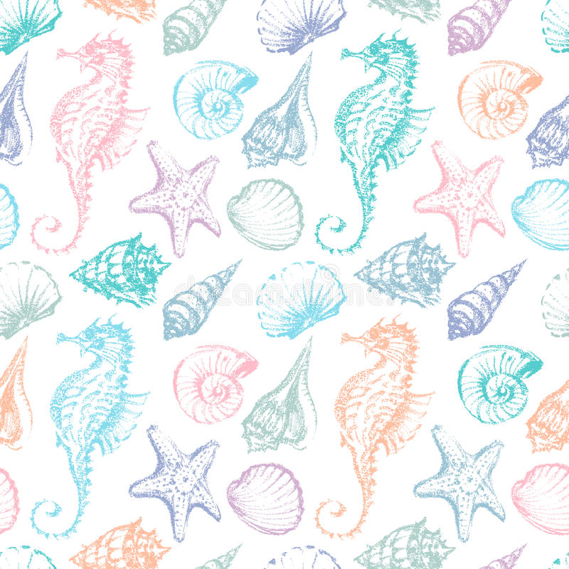 Free Pattern Of The Sea Creatures Royalty Free Stock Photos - 46732188