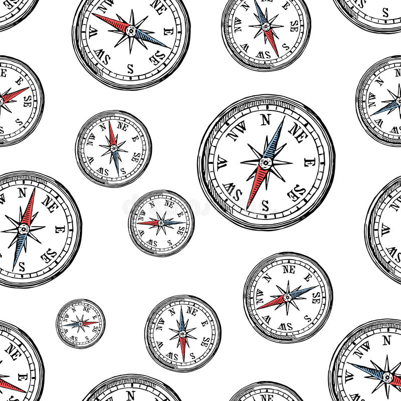 Pattern of the old compass stock illustration