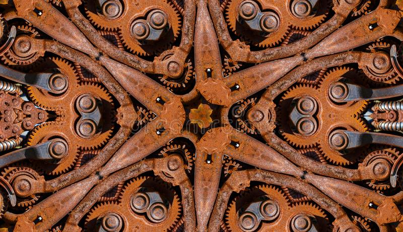 Pattern with old mechanism parts. Abstract pattern consisting of rusty mechanism parts royalty free stock photography