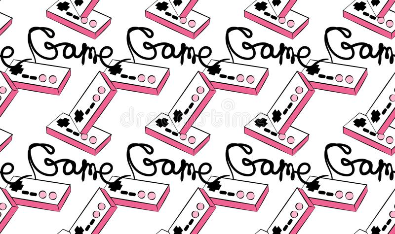 A pattern of old pink retro vintage antique hipster joysticks for video game consoles and an inscription game from the 80`s, 90`. S on a white background royalty free illustration