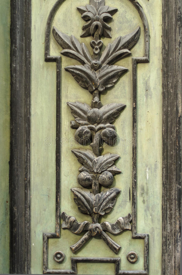 Pattern On An Old Wooden Door Royalty Free Stock Images