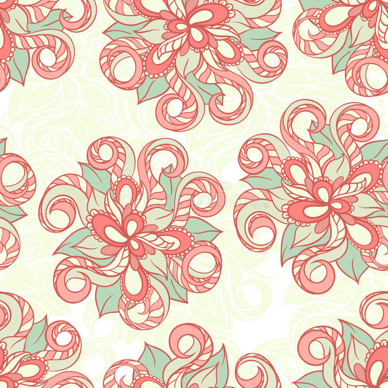Pattern with orange flowers. Seamless background with hand-drawn orange floral pattern royalty free illustration