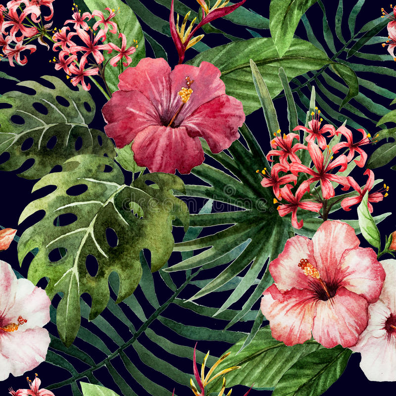 Pattern orchid hibiscus leaves watercolor tropics royalty free illustration