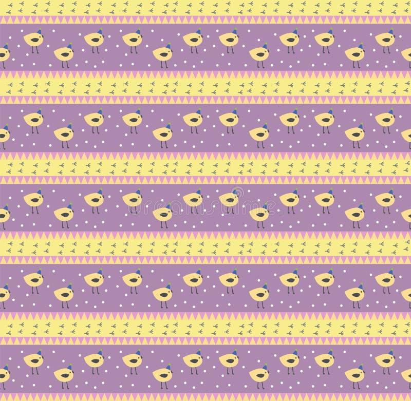 Stylized vector cute festive vector pattern many yellow birds on violet fon stock illustration
