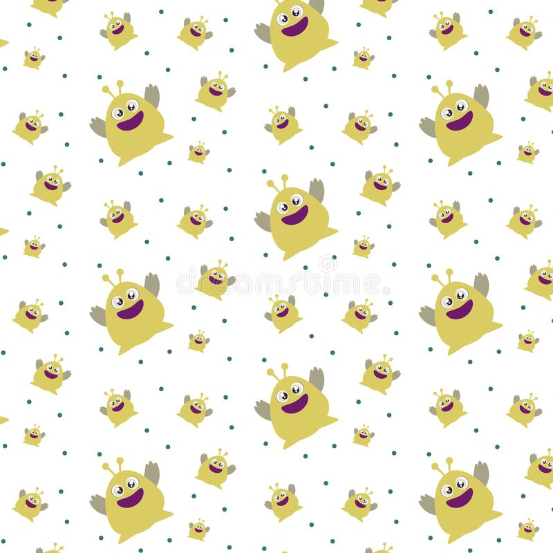 Pattern ornament with funny cute yellow monster on white background stock illustration