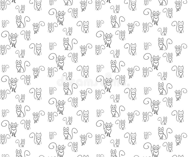Pattern crazy cats. Outline cat on the white blackground. stock illustration