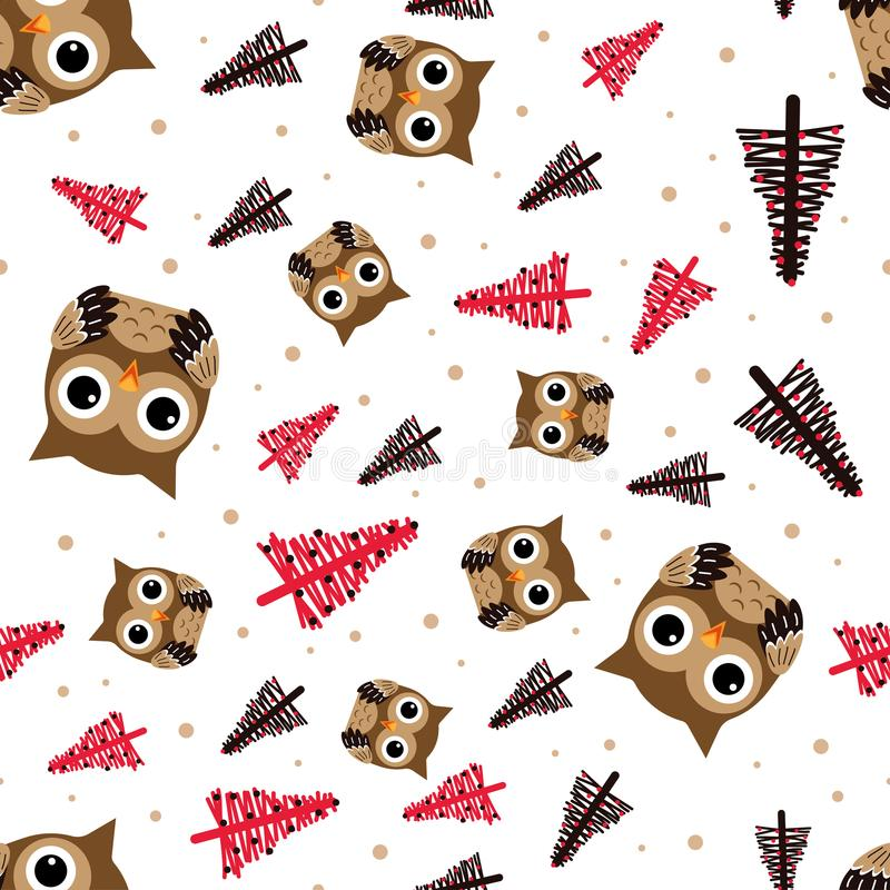 Pattern with owl and christmas trees royalty free illustration