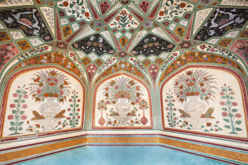 colorful floral marble window at amer palace stock image