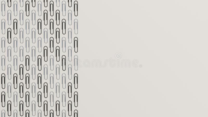 Pattern from paper clips. Pattern from metal and black paper clips on white background. Abstract stationary background. 3D rendering illustration royalty free illustration