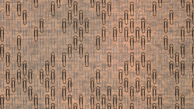 Pattern from paper clips. Pattern from metal and black paper clips on wooden background. Abstract stationary background. 3D rendering illustration stock illustration