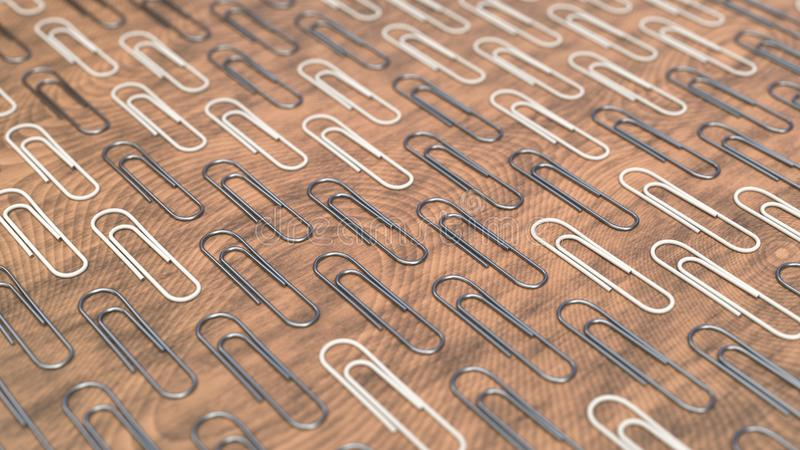 Pattern from paper clips. Pattern from metal and white paper clips on wooden background. Abstract stationary background. 3D rendering illustration stock illustration