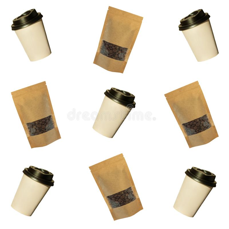Pattern of paper cups and pouch bags with coffee beans isolated on a white background royalty free illustration
