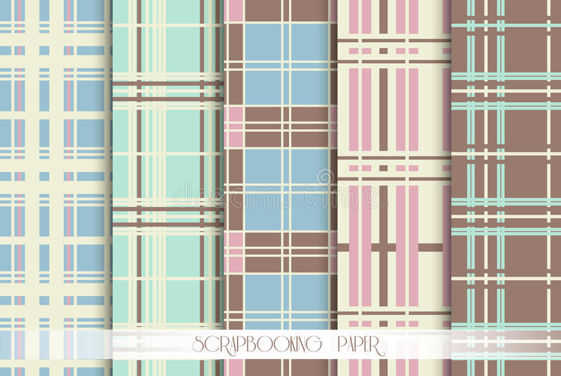 5 Pattern papers for scrapbook. Blue, pink, green and brown shabby color. Endless texture can be used for printing onto fabric and paper or scrap booking royalty free illustration