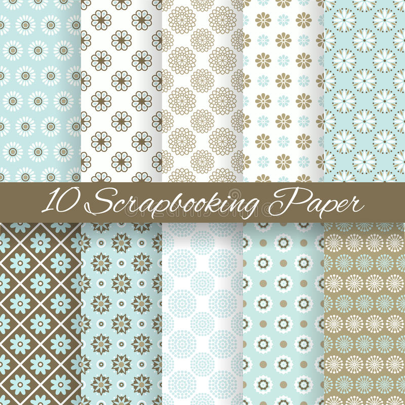 Pattern papers for scrapbook (tiling). 10 Pattern papers for scrapbook (tiling). Blue, white and brown shabby color. Endless texture can be used for printing