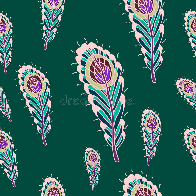 Pattern with peacock feathers stock photography
