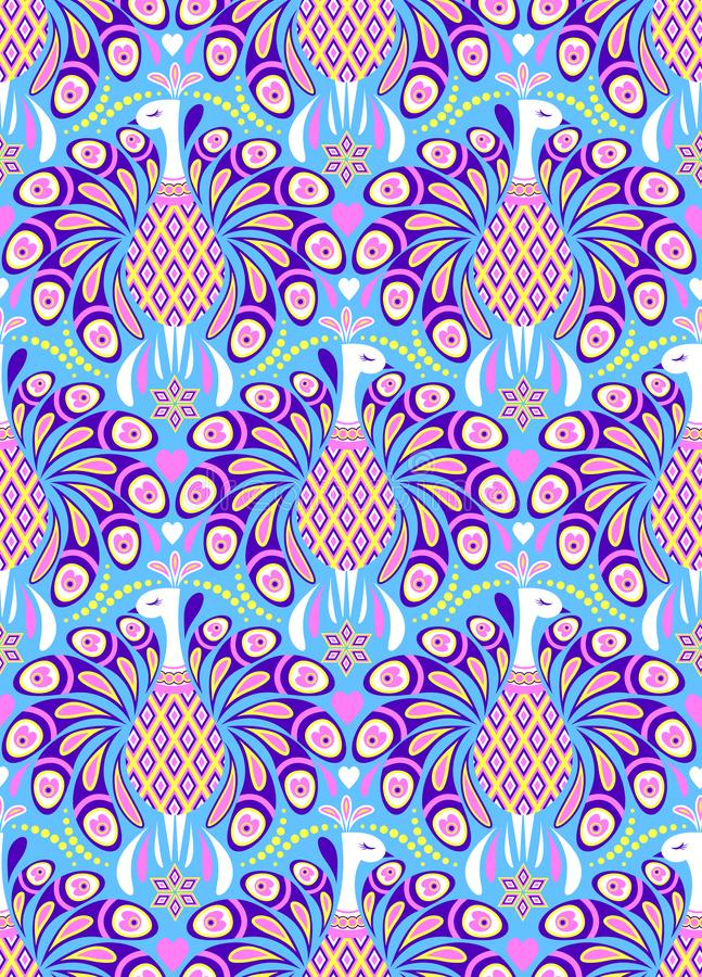 Pattern with peacocks vector illustration