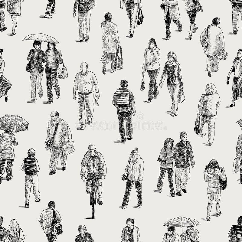 Pattern of the pedestrians stock illustration