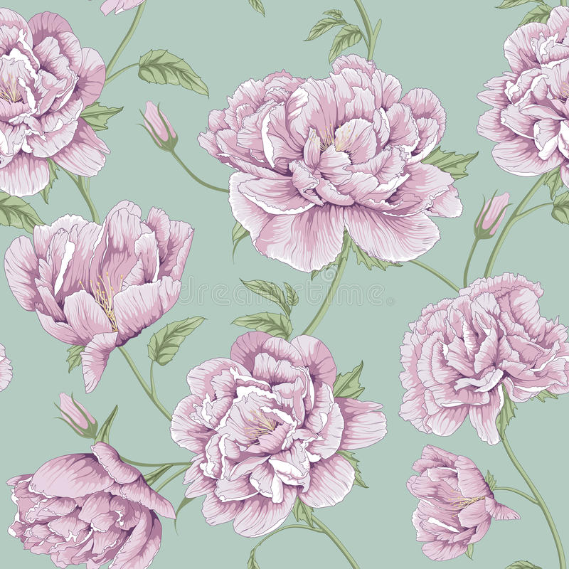 Pattern peony flower illustration stock illustration