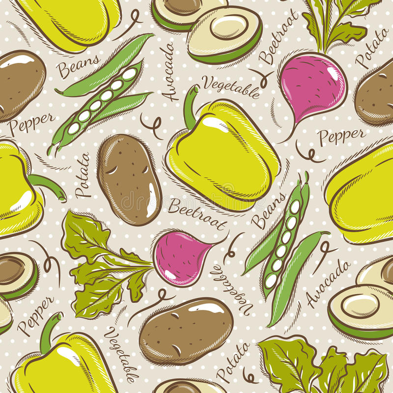 Pattern with pepper, beans, potato and avocado. Background with pepper, beans, potato and avocado. Ideal for printing onto fabric and paper or scrap booking royalty free illustration
