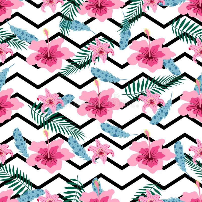Pattern with pink flowers stock illustration