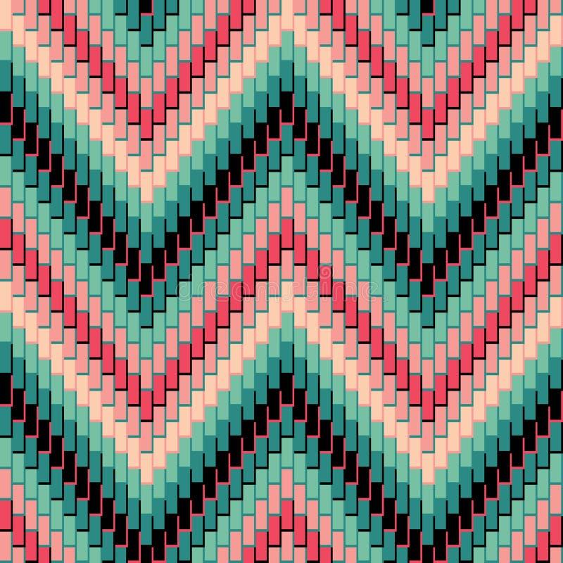 Pattern_Pink-Green en arête de poisson illustration stock