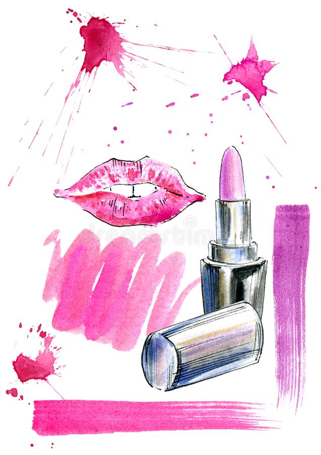 Pattern of a pink lipstick, lip prints and splashes. Fashion, cosmetics and beauty image. Watercolor hand drawn illustration. White background stock illustration