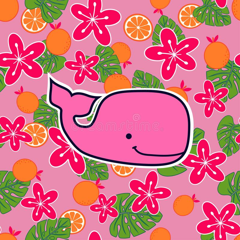 Pattern with pink sperm whales vector illustration