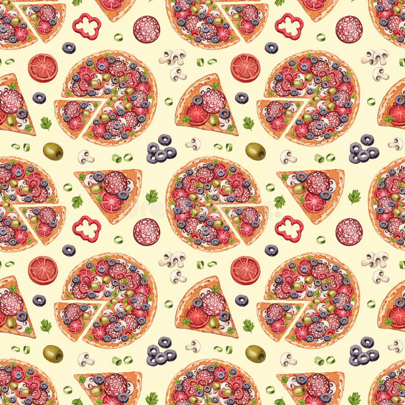 Pattern with pizza illustrations vector illustration