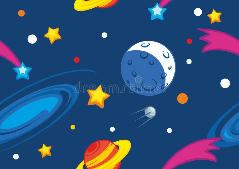 Pattern with planets and stars. Seamless vector pattern with planets and stars royalty free illustration