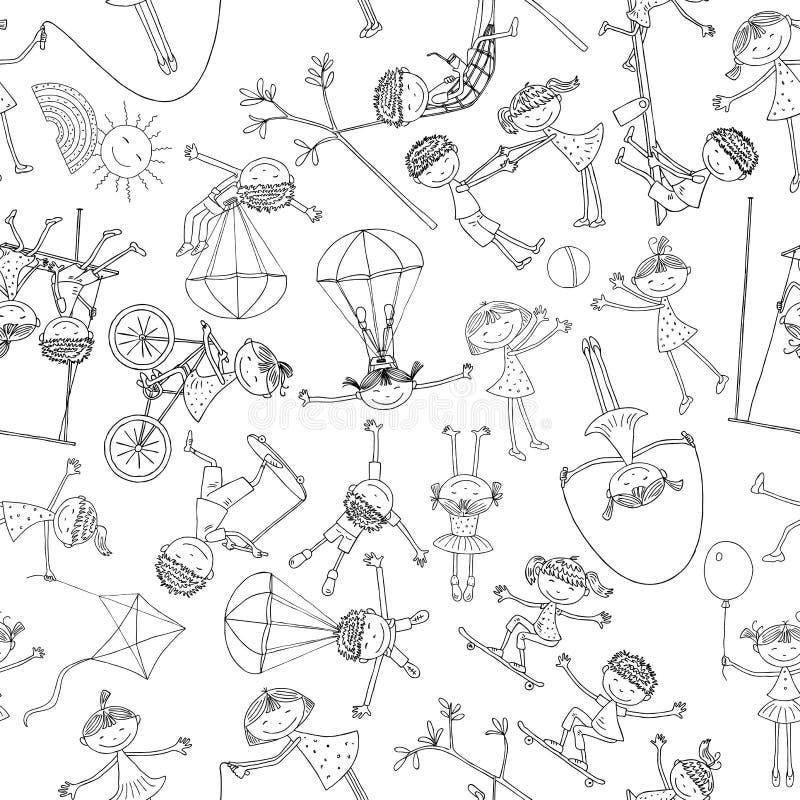 Pattern of the playful children stock illustration