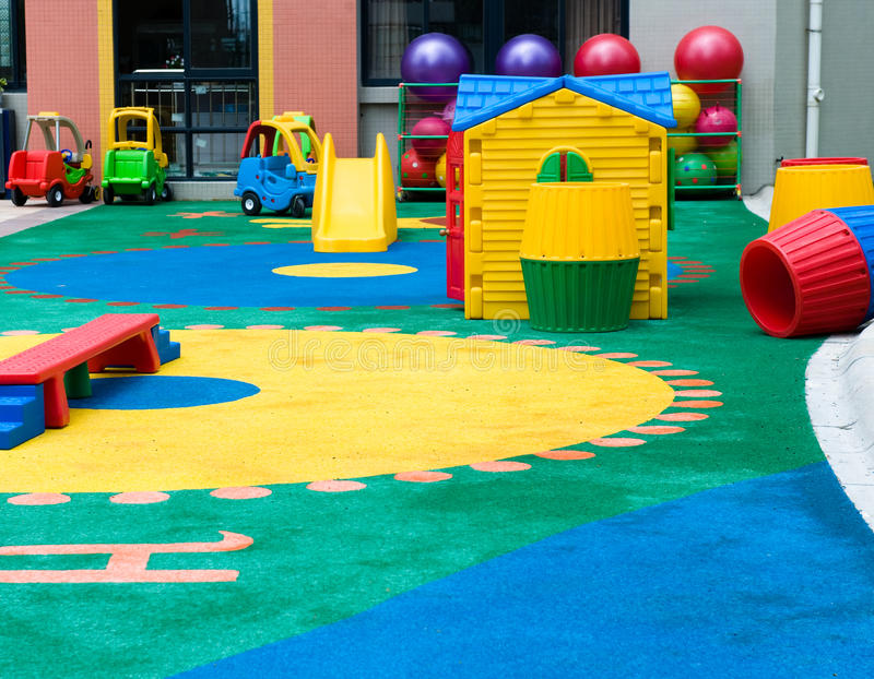 Pattern on the playground. Pattern and toy on the playground in a kindergarten stock images