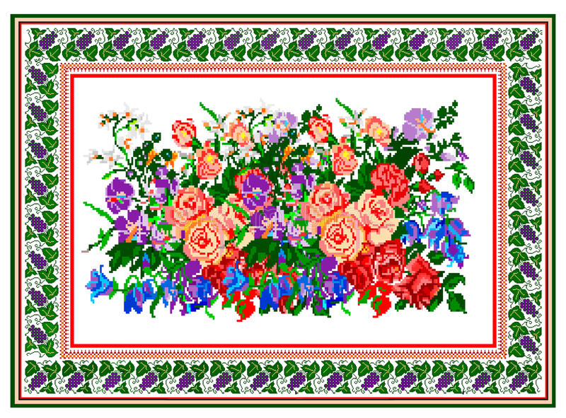 Pattern, popular motif, regular motif, tablecloth, picture. Regular popular motifs. Can be used as carpet or tablecloth or a background for events stock photo