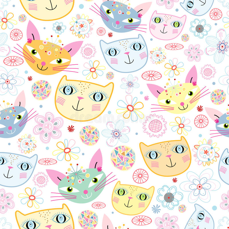 Pattern Of Portraits Of Cats Royalty Free Stock Image