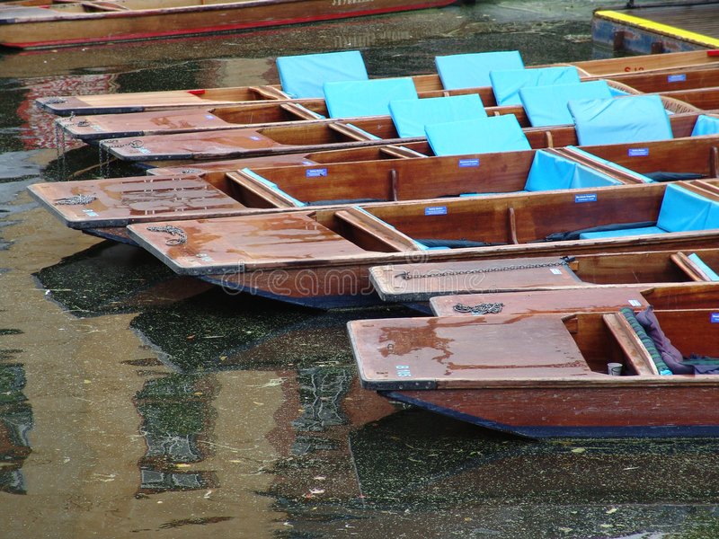 Pattern of punts moored on Cambridge canal royalty free stock photography